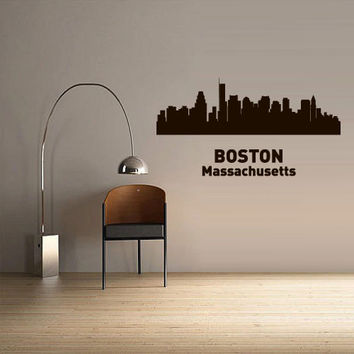 Wall Vinyl Sticker Decals Decor Art Bedroom Design Mural Words Sign Town City Skyline Boston Massachusetts (z3058