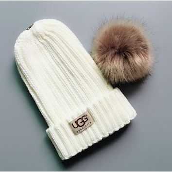 """UGG"" Autumn Winter Fashion Women Men Chic Small Ball Knit Warm Hat Woolen Cap White"