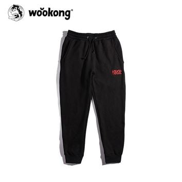 The Wookong 2017 blue summer sweatpants men brand fleece long pant men casual cotton red wukong Chinese embroidery K-W011