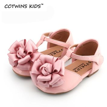 CCTWINS KIDS 2017 toddler fashion pink flower party child baby girl pu leather kid brand black shoe flat T-Strap sandal G1005
