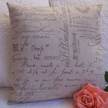 French Script Accent Pillow