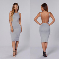 Gray Backless Bodycon Midi Dress