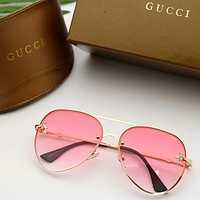 GUCCI Stylish Woman Chic Bee Candy Color Summer Sun Shades Eyeglasses Glasses Sunglasses Pink