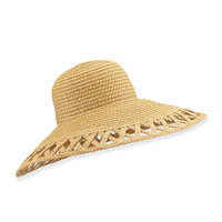Eric Javits Maribel Cutout-Wide-Brim Hat, Natural