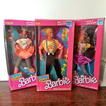 1988 Cool Times Barbie Trio feat. Ken, Teresa, and Christie dolls NRFB (never removed from box)
