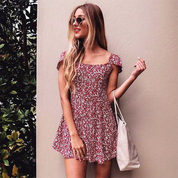 Summer Sexy Slim Floral One Piece Dress [10016485453]
