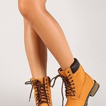 Nature Breeze LAUREN-01-9-4 Lace Up Work Ankle Booties Women Boots BLACK Bare Feet Shoes