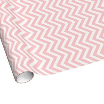 Light Pink and White Modern Chevron Gift Wrapping Paper