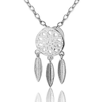 Hot Fashion 925 Sterling Silver Leaf Tassel Hollow Flower Dreamcatcher Pendant Necklace Lover Best Gift