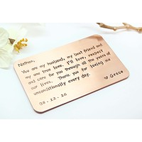 Copper Wallet Insert Card - Customized personal messages - Husband, Boyfriend Gift 7 Year, Christmas Gift For Him- Thoughtful, Wedding