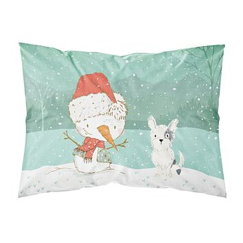 Black and White Terrier Snowman Christmas Fabric Standard Pillowcase CK2095PILLOWCASE