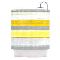"CarolLynn Tice ""Lemon"" Yellow Gray Shower Curtain, 69"" x 70"" - Outlet Item"