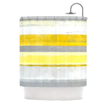 "CarolLynn Tice ""Lemon"" Yellow Gray Shower Curtain"