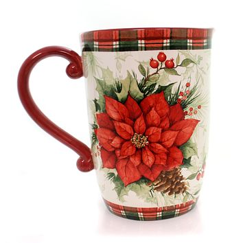 Tabletop WINTER FIELD NOTES PITCHER Ceramic Poinsettia Holly Christmas 32368