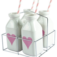 Carousel Set of 4 Milk Bottles with Straws And Basket - Pink