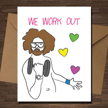 LMAFO We Workout Love Card Yoga Funny Excercise Valentines For Him Her Boyfriend Girlfriend Husband Wife