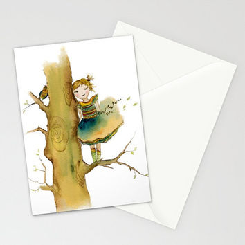 Greeting Card - Shared Secret - cute colorful watercolor art painting girl's birthday invitation baby shower celebration envelope Oladesign
