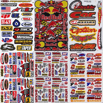 6 Mixed Sheets Racing Decals Sticker sheets  Graphic Racing Decals for Motorcycle Motocross Supercross Dirt Bike Skateboard ATV & helmet