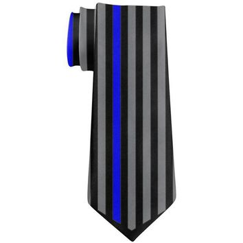 DCCKU3R Thin Blue Line Police Lives Matter Chevron Flag All Over Neck Tie