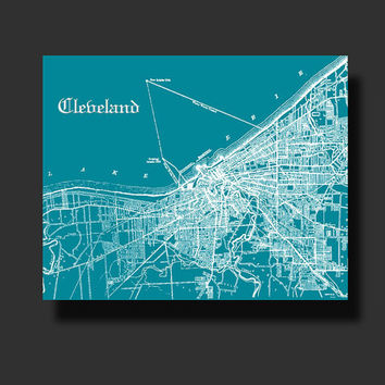 CLEVELAND Vintage City Street Map Color Print Customizable Home Decor Wall Decor C058C