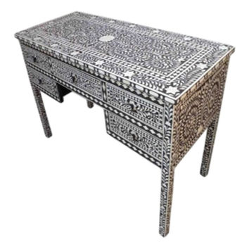 Bone Inlay Furniture -  Floral Console Striped Table  | Free Shipping