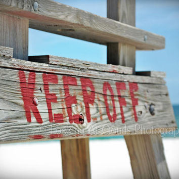 beach or lake - fine art photo 8 x 10 - - Keep Off - wood lifeguard chair - rustic summer wall decor - red blue