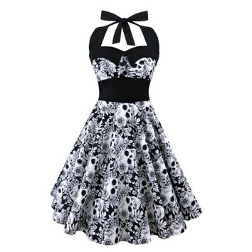 Printed Dress Women Punk Strapless Halter Party Dresses Bowknot Self Gothic Dress Clothing S-5XL Large Size