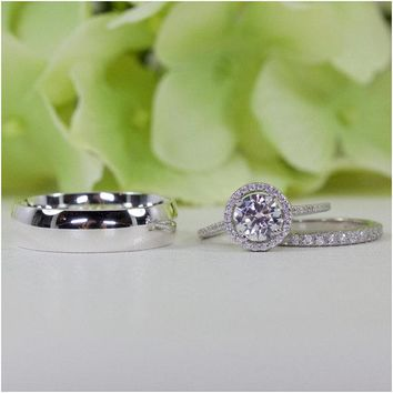 Her & Him Wedding Ring Set In Sterling Silver, Groom 7 MM Wedding Band