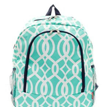Monogrammed Backpack  Personalized Back Pack  Mint Trellis Back Pack