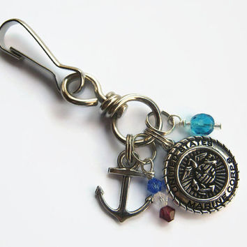 Marine Corps Zipper Pull, Marines Keychain, Sailor Zipper Pull, Military Personalized Accessory, USMC Zipper Pull, Jarhead, Armed Force