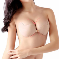 Sexy sujetador Women Invisible Push Up Bra Self-Adhesive Silicone Bust Front Closure sticky bra Backless Strapless Bra A B C D