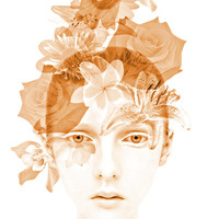 Sepia portrait photomontage digital art print flowers collage wall art