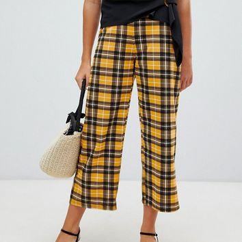 New Look crop trouser in mustard check at asos.com