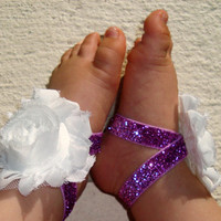 Baby Barefoot Sandals - White Purple Sparkle Piggy Petals - Toe Blooms - Photo Props - Baby Shoes - Toddler Shoes - Newborn Shoes