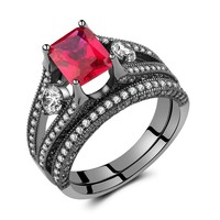 3.66ct Black Sterling Silver White Diamond & Created Princess-Cut Ruby Wedding Engagement Bridal Ring Set