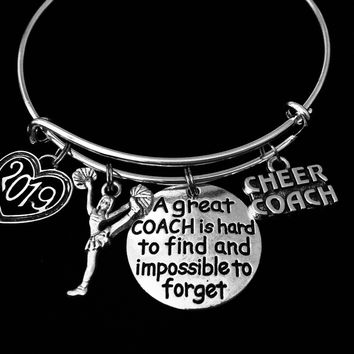 Cheer Coach Charm Bracelet Expandable Cheerleader Coach Adjustable Silver Bangle One Size Fits All Gift