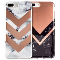 iPhone 7 2-Pack Marble Color Block Cases/ Gray, Rose Gold