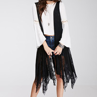 Black Sleeveless Lace Long Coat