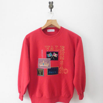 Vintage Andre Valentino Paris Embroidery Sweatshirt Urban Fashion Designer Sweater Red Color
