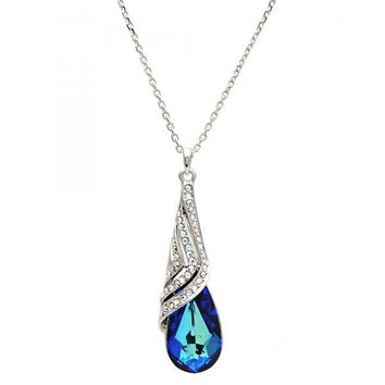 Gold Layered Fancy Necklace, Teardrop and Rolo Design, with Swarovski Crystals, Rhodium Tone