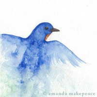 Blue Bird Art Watercolor Painting Nature 5 x 5 by naturescharms