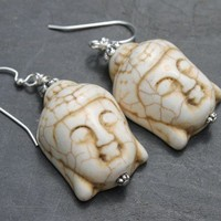 White Turquoise Magnesite Buddha Head and Bali Silver Drop Earrings