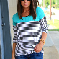Fine By Me 3/4 Sleeve {Turquoise}
