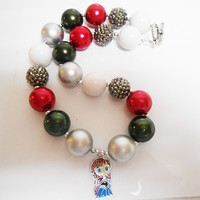 Once Upon A time Fairytale Frozen Anna Bubblegum Chunky Necklace