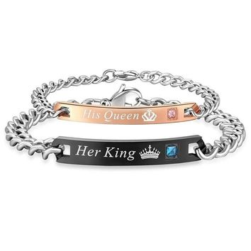 Stainless Steel Her King His Queen Lovers Charm Couples Matching Unisex Bracelet