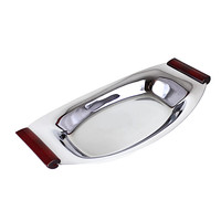 Glo-Hill Flat Bottom Serving Dish, Chrome, Burgundy Handles