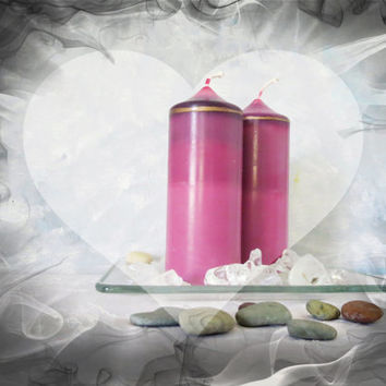 Radiant orchid candles, eclectic candles, ecofriendly candles, Valentine's Day gift, romantic pink candles, sustainable accessories