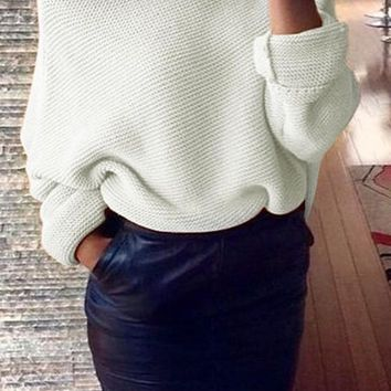 Beige Plain Irregular Boat Neck Off-Shoulder Oversize Pullover Sweater