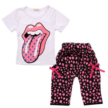 Toddler Baby Infant Clothes Girl Kids Tongue Top+Harem Pant 2Pcs Outfit Set S0B 7_S (Size: 1-2 Years) = 1913127812