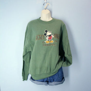80s Mickey Mouse Sweatshirt Moss Green Embroidered xl